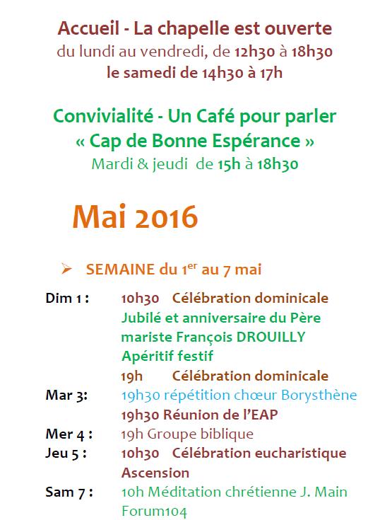 2016 NDA Programme début mai